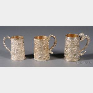 Three Chinese Export Silver Mugs