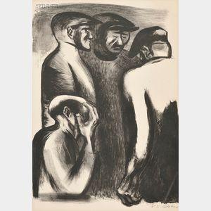 José Clemente Orozco (Mexican, 1883-1949)      The Unemployed - Paris (Desocupado)
