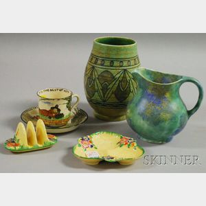 Five Pieces of English Decorated Pottery