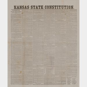 Kansas State Constitution, Broadside, 1859.
