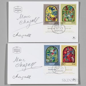 Chagall, Marc (1887-1985) Two Signed Israeli Covers: Chagall's Windows for the Hadassah Medical Center, Jerusalem, 1962.