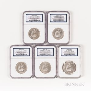 Five S.S. Republic Seated Liberty Half Dollars in Original 'The Final Voyage' Boxes