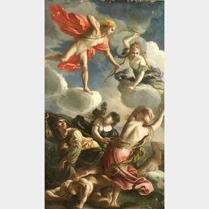 Attributed to Alessandro Turchi, called l'Orbetto (Italian, 1578-1649)  Diana and Apollo Slaying the Children of Niobe
