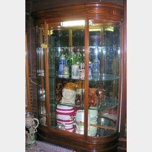Edwardian Mahogany, Mahogany Veneer and Glass D-shaped Shop Display Cabinet