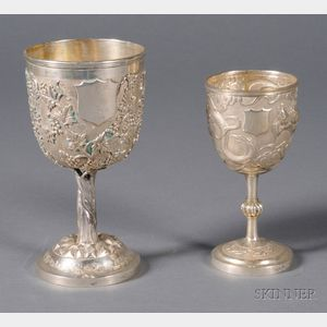 Two Asian Export Silver Goblets