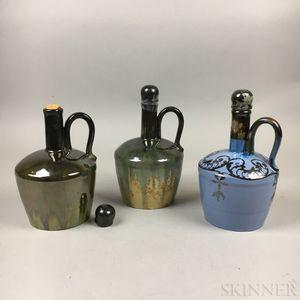 Three Fulper-type Pottery Music Jugs