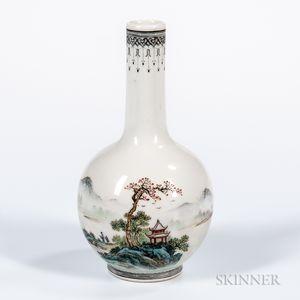 Polychrome Enameled Bottle Vase