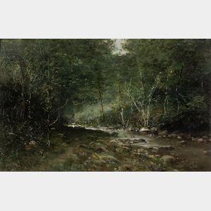 Carlo Pittara (Italian, 1836-1890)      Woodland Stream