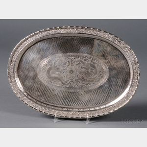 Chinese Export Silver Oval Tray