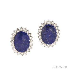 Platinum, Lapis, and Diamond Earclips, R.W. Wise