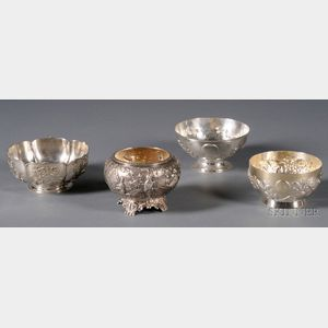 Four Chinese Export Silver Bowls