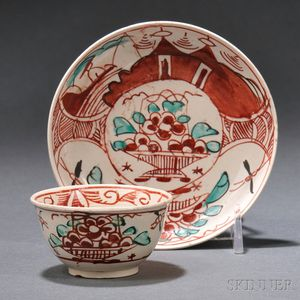 Staffordshire Salt-glazed Stoneware Tea Bowl and Saucer