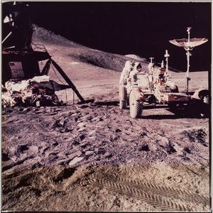 Apollo 15, Astronaut James B. Irwin Prepares the Lunar Roving Vehicle (LRV) (NASA AS15-86-11601), July 31, 1971.