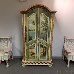 MacKenzie-Childs Paint-decorated Wood and Ceramic Armoire
