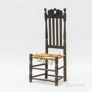 Black-painted Heart and Crown Bannister-back Side Chair