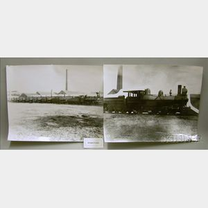 Two Large Glass Plate Negatives Depicting Providence Locomotive Works   Engines
