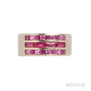 18kt Gold, Pink Sapphire, and Ruby Ring