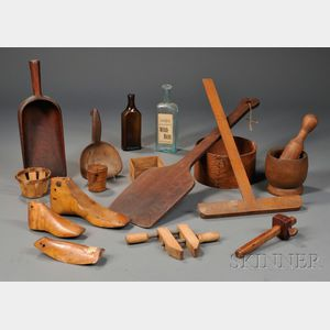 Seventeen Mostly Wood and Glass Household Items, Many Shaker-made