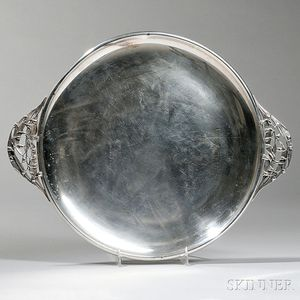 Durham Sterling Silver Round Tray with Lily of the Valley-form Handles