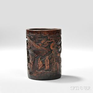 Bamboo Brush Pot, China, 20th century, cylindrical, formed from a single piece of bamboo, the exterior carved with three scholars viewi
