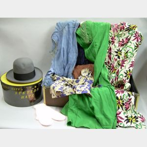 Vintage W.W. Winship Valise Containing Vintage 1940s Ladies' Clothing and Other Accessories