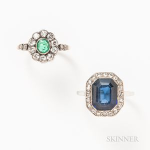 18kt White Gold, Synthetic Sapphire, and Diamond Ring and a 14kt Gold, Diamond, and Emerald Flower Ring