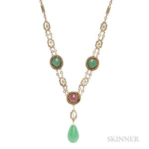 Silver-gilt Filigree, Jade, and Pink Tourmaline Necklace