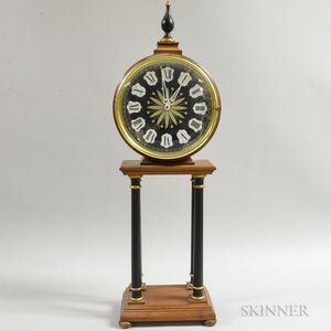 German Neoclassical-style Fruitwood Veneer Mantel Clock