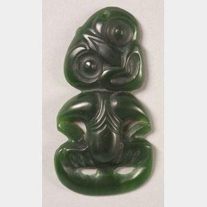 Polynesian Carved Jade Tiki