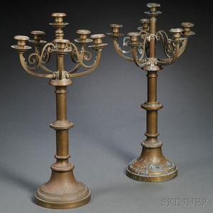 Pair of  Six-light Brass Candelabra