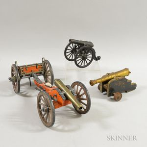 Three Metal and Wood Toy Cannons.