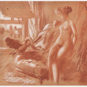 Everett Shinn (American, 1876-1953)      Leda and the Swan