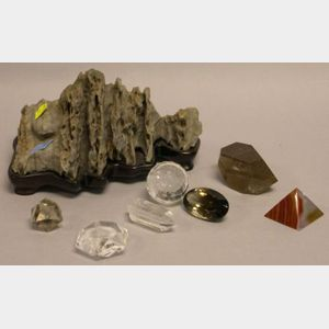 Seven Assorted Crystals and a Chinese Scholars Rock.