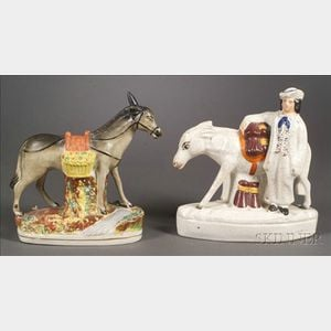 Two Staffordshire Figures with Donkeys