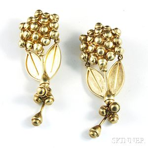 Pair of Gilt Sterling Silver Earpendants