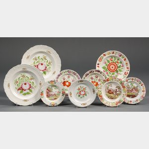 Nine Decorated Pearlware Plates