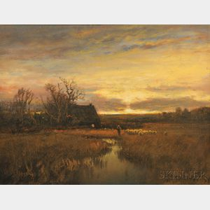 Paul R. Koehler (American, 1866-1909)      Herding the Flock at Sunset