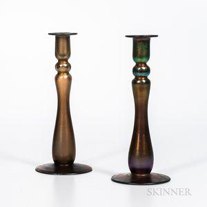 "Pair of Imperial Art Glass ""Free Hand"" Verre de Soie Candlesticks"