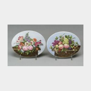 Pair of Porcelain Handpainted Still Life Plaques
