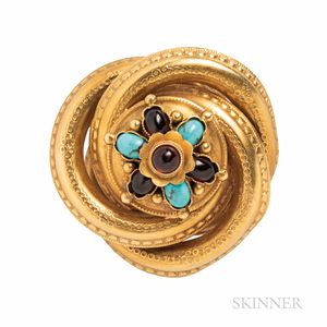Victorian Gold, Turquoise, and Garnet Brooch