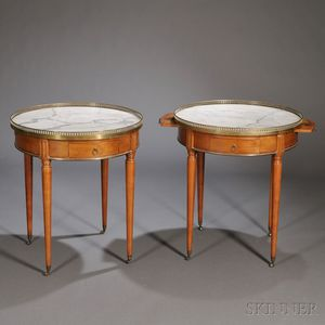 Pair of Louis XVI-style Brass-mounted Marble-top Tulipwood Occasional Tables