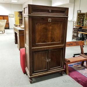 Louis XVI-style Brass-mounted Walnut Veneer Secretaire a Abattant