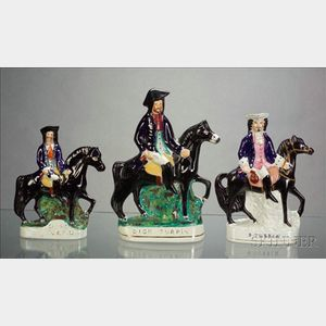 Three Staffordshire Dick Turpin Figures