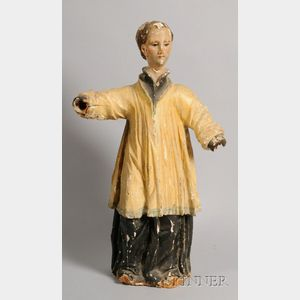 Large Continental Carved and Painted Wood Gesso Church Figure