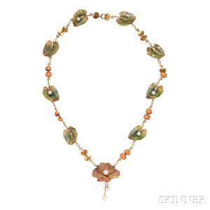 Art Nouveau Gold and Plique-a-jour Enamel Necklace