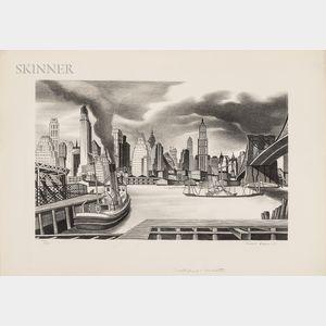 Ernest Fiene (American, 1894-1965)      Waterfront (Manhattan)