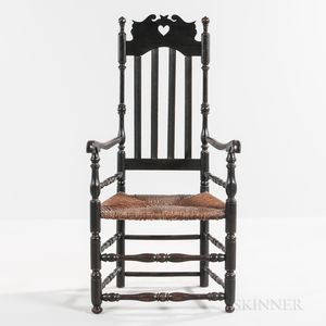 Black-painted Heart and Crown Bannister-back Armchair