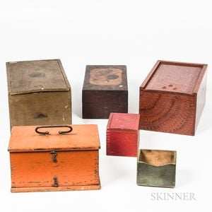 Six Wooden Painted Boxes