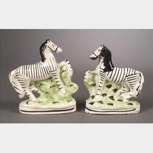 Pair of Staffordshire Zebras