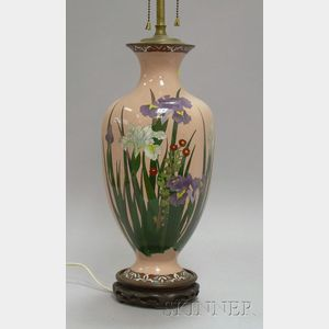 Japanese Cloisonne Iris and Floral Decorated Vase/Table Lamp